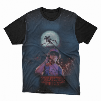 Camiseta Stranger Things Dustin e Demogorgon